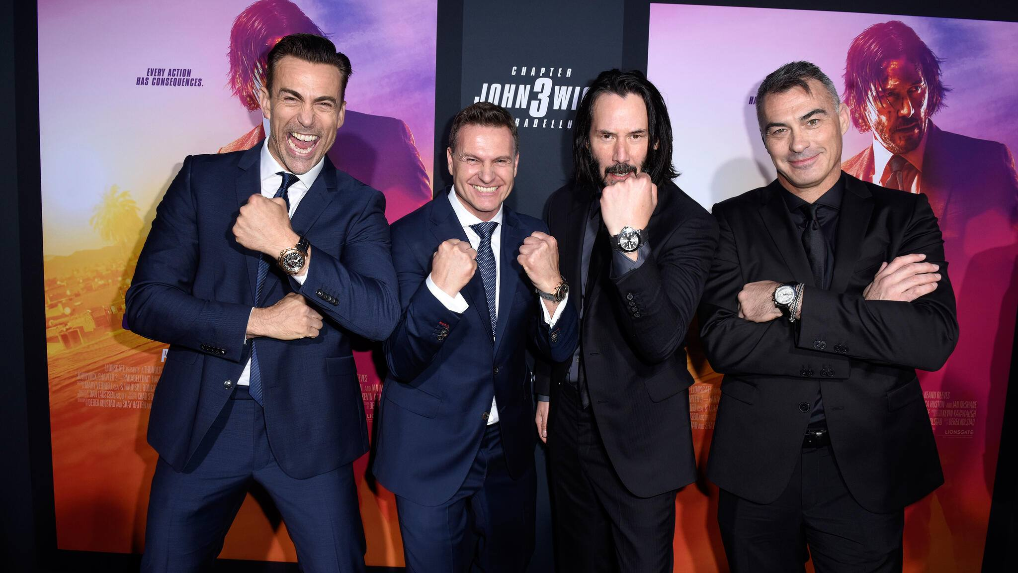 "LOS ANGELES, CALIFORNIA - MAY 15: (L-R)  Daniel Bernhardt,  CEO of Carl F. Bucherer Sascha Moeri, Keanu Reeves, and Chad Stahelski celebrate the premiere of ""John Wick: Chapter 3 - Parabellum"" on May 15, 2019 in Los Angeles, California. (Photo by Vivien Killilea/Getty Images for Carl F. Bucherer )"