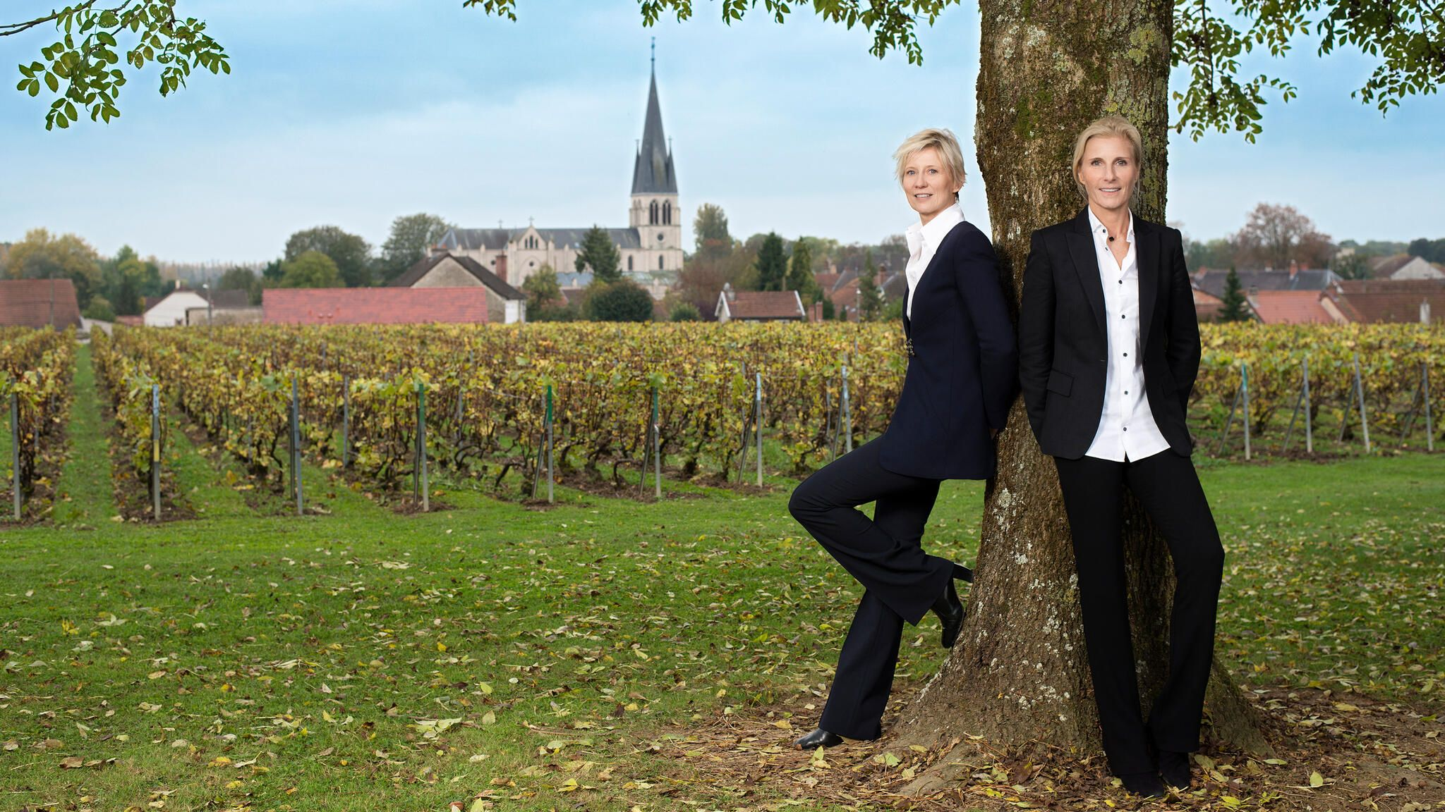 TOURS-SUR-MARNE, MARNE, FRANCE - OCTOBER 28 : Alexandra Pereyre de Nonancourt and her sister Stephanie Meneux de Nonancourt owners of Champagne Laurent-Perrier pose in their vineyard in Tours-Sur-Marne on October 28, 2014. (Photo by Emmanuele Scorcelletti/Paris Match Contour by Getty Images)