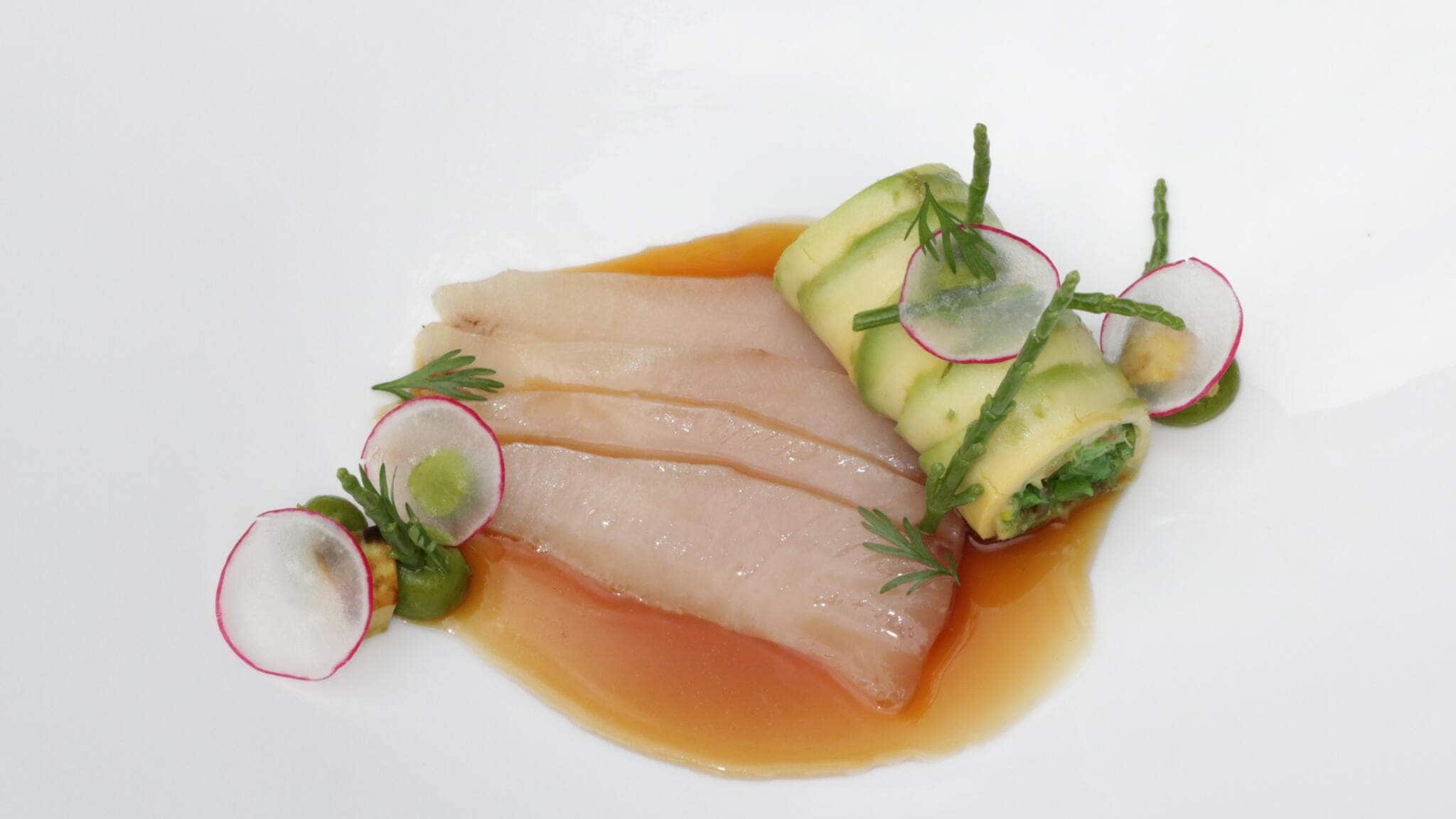 Kingfisch, Gingerale-Sojasud & Avocado