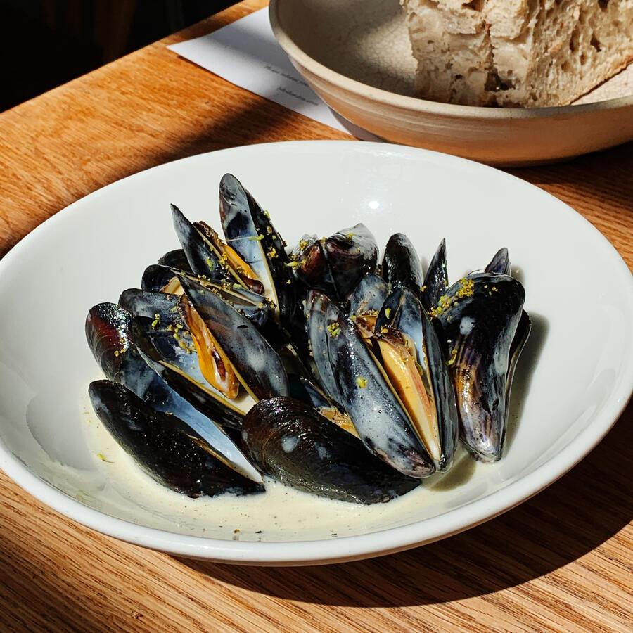 Mussels with cider butter sauce at Lyle's London