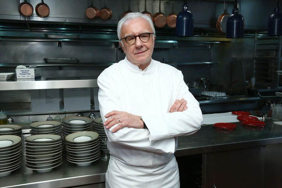 NEW YORK, NY - OCTOBER 12: Chef Alain Ducasse poses for photos during the celebration of women in the kitchen part of the Bank of America Dinner Series presented by The Wall Street Journal at Benoit Bistro on October 12, 2017 in New York City.  (Photo by Astrid Stawiarz/Getty Images for NYCWFF)