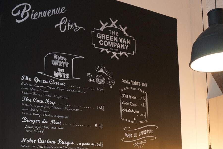 The Green Van Company menu wall