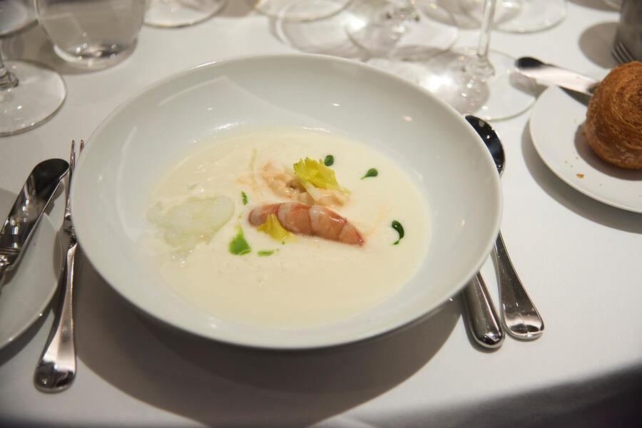 Poached Prawn with Celery Root and green apple veloute