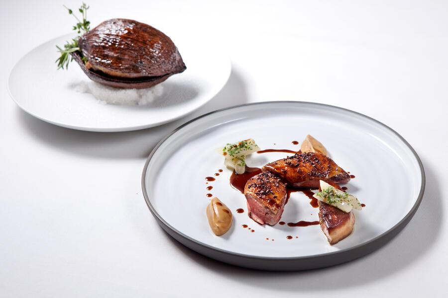 Racan Pigeon from Maison Bellorr, Cooked in Cocoa Pod, Onion PurÇe, Salsify, Cocoa Jus (c) Four Seasons Hotel Hong Kong