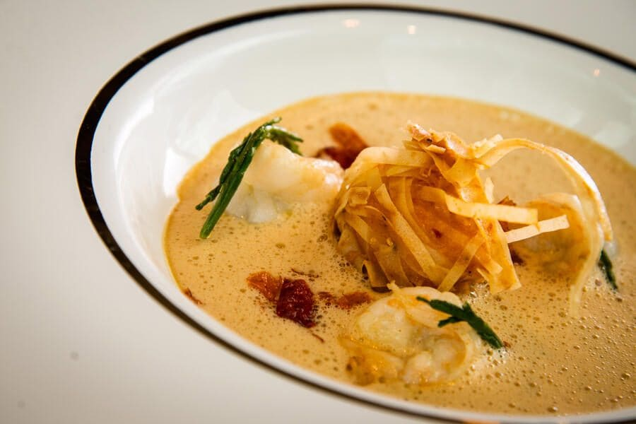 TheChedi/Gütsch 2020: Swiss Shrimp im Cocnac-Bisque