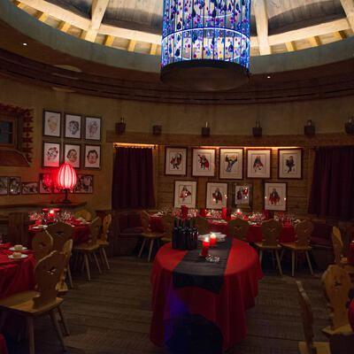 Dracula Club in Saint St. Moritz. Part of Building on right side is the Bob Start House of the Olympia Bob Run.Plazza da Gunter Sachs is the Place Named.  FRIDAY, 08 JANUARY 2010PHOTO fotoSwiss.com/cattaneo