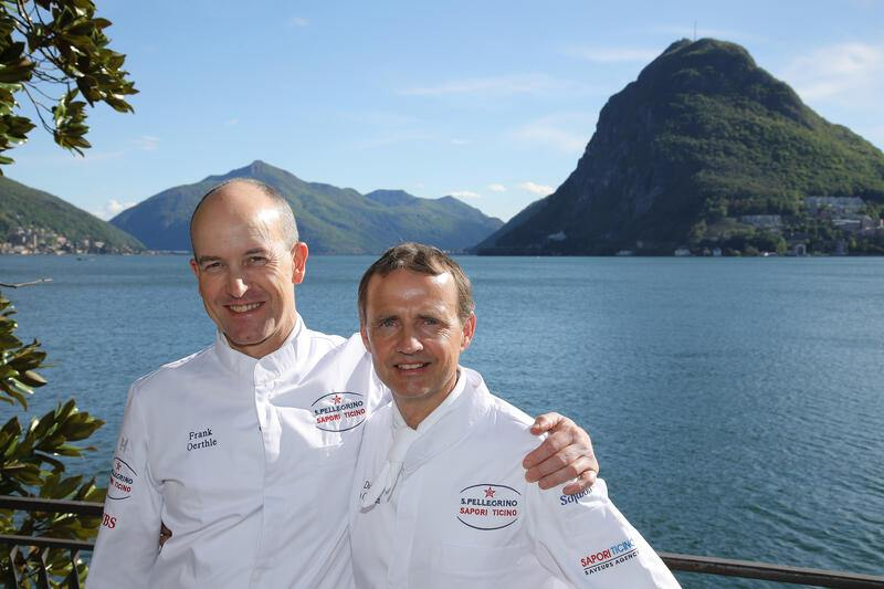 LUGANO, 28.04.2019 - Chef Frank Oerthle & Chef Didier De Courten. S. Pellegrino Sapori Ticino 2019 'Official Night Didier De Courten': Frank Oerthle meets Didier De Courten (Le Terminus, Sierre) at Ristorante Galleria Arte al Lago, Lugano.copyright by www.steineggerpix.com & www.saporiticino.ch 2019 / photo by remy steinegger+++ no resale / no archive +++
