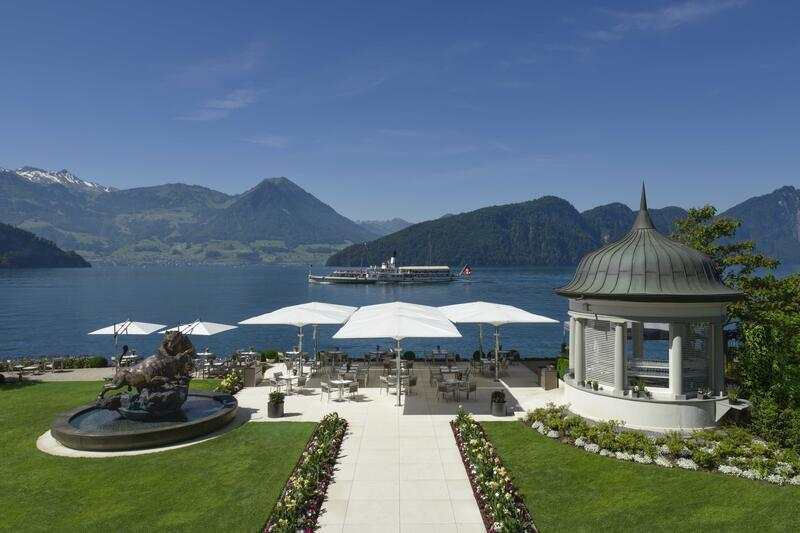 Garden Terrace, Park Hotel Vitznau, Luxury Travel, Lake Lucerne, Switzerland