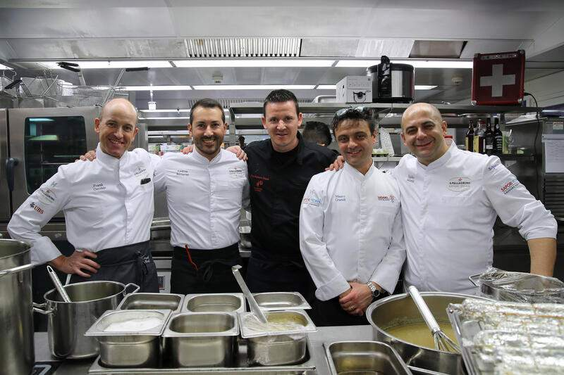 ZURICH, 09.04.2019 - VLNR: Frank Oerthle, Andrea Bertarini, Tino Roberto Staub, Mauro Grandi & Egidio Iadonisi. S. Pellegrino Sapori Ticino 2019 '2nd Gala Dinner Oltre Gottardo' at Widder Hotel, Zurich.copyright by www.steineggerpix.com & www.saporiticino.ch 2019 / photo by remy steinegger+++ no resale / no archive +++